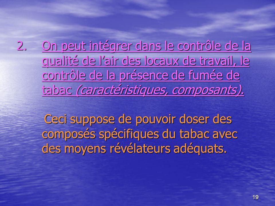 19 2.On peut intégrer dans le contrôle de la qualité de lair des locaux de travail, le contrôle de la présence de fumée de tabac (caractéristiques, co