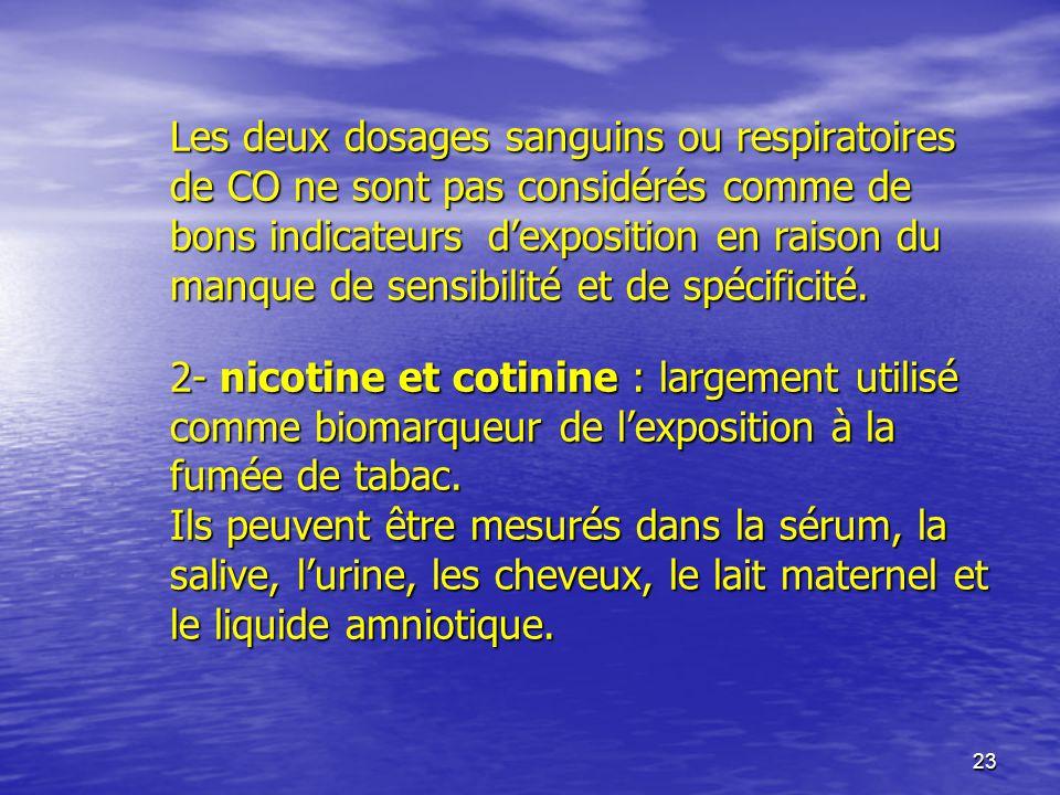 23 Les deux dosages sanguins ou respiratoires de CO ne sont pas considérés comme de bons indicateurs dexposition en raison du manque de sensibilité et