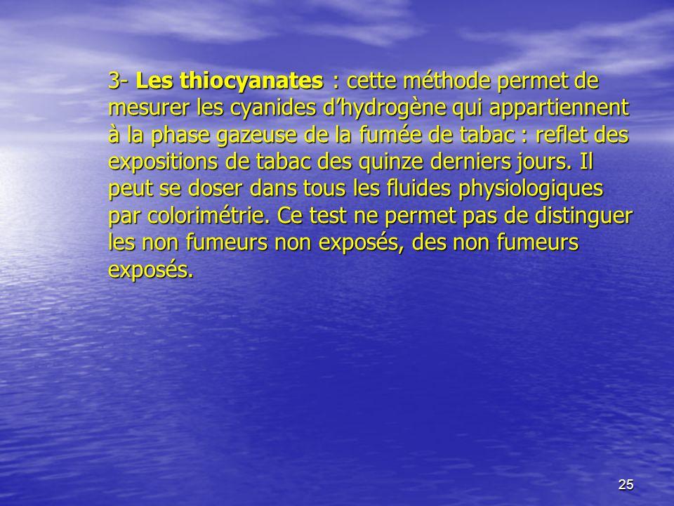 25 3- Les thiocyanates : cette méthode permet de mesurer les cyanides dhydrogène qui appartiennent à la phase gazeuse de la fumée de tabac : reflet de