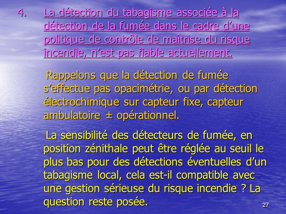 27 4.La détection du tabagisme associée à la détection de la fumée dans le cadre dune politique de contrôle de maîtrise du risque incendie, nest pas f