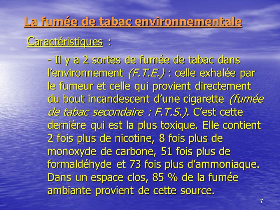 7 La fumée de tabac environnementale C aractéristiques : - Il y a 2 sortes de fumée de tabac dans lenvironnement (F.T.E.) : celle exhalée par le fumeu