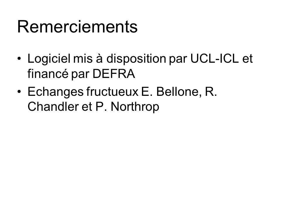 Remerciements Logiciel mis à disposition par UCL-ICL et financé par DEFRA Echanges fructueux E. Bellone, R. Chandler et P. Northrop