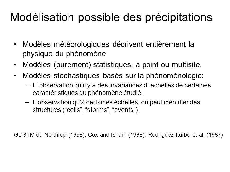 Trois types dorganisation Cellule (Cellules pluvieuses) 10 à 50 km 2 Jusquà 40 min Orage (Méso-échelle) 10 2 -10 4 km 2 Heures Evènement (Echelle synoptique) >>10 4 km 2 Jours