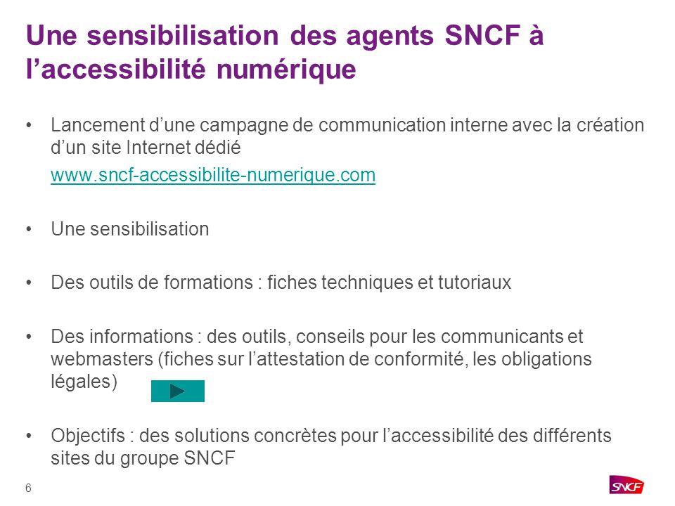 17 Présentation du site www.ter-sncf.com Historique - Première labellisation du site en 2007 - En avril 2010 www.ter-sncf.com obtient le label Accessiweb niveau argentwww.ter-sncf.com - www.ter-sncf.com devient le premier site internet de services SNCF labelliséwww.ter-sncf.com Laccessibilité sur le site TER - Un site qui répond à lengagement TER « proche de chacun, présent pour tous » o Un site internet accessible à tous o Et qui donne un accès direct à toutes les informations utiles sur les services et les équipements daccessibilité disponibles sur le site - Des exemples de critères o Des contenus adaptés o Un graphisme adapté pour une meilleure lisibilité o Des photos légendées et des liens indiquant les contenus