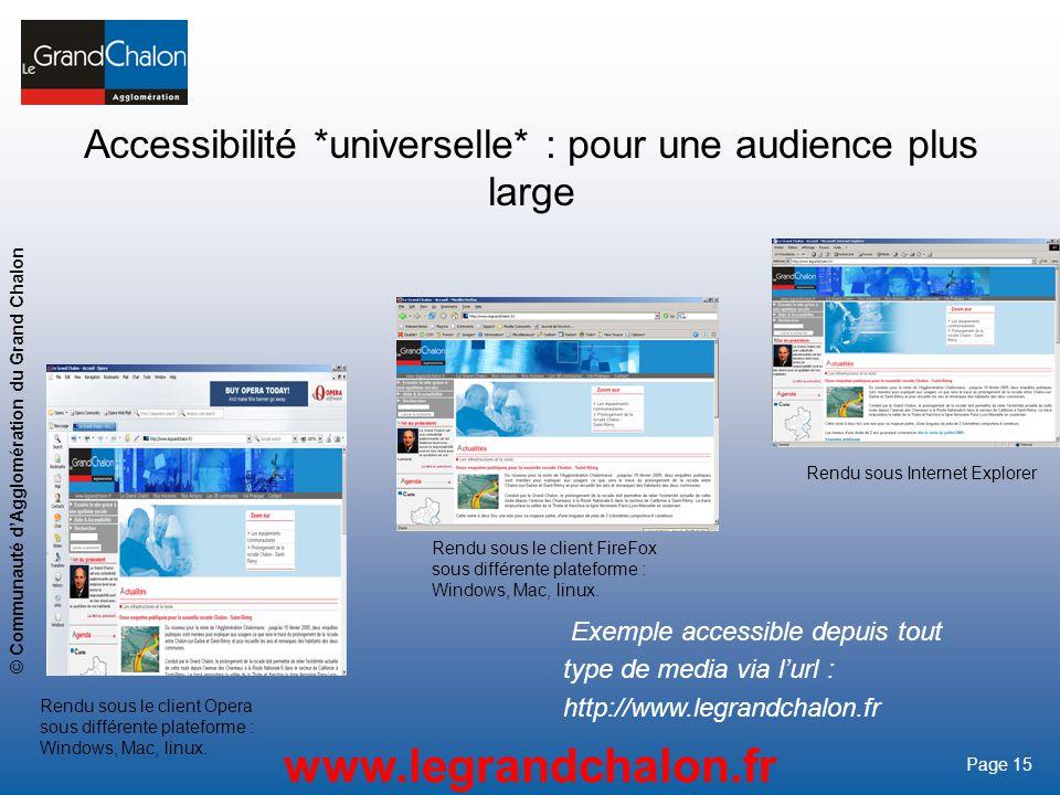 15 www.legrandchalon.fr © Communauté dAgglomération du Grand Chalon Page 15 Accessibilité *universelle* : pour une audience plus large Exemple accessi