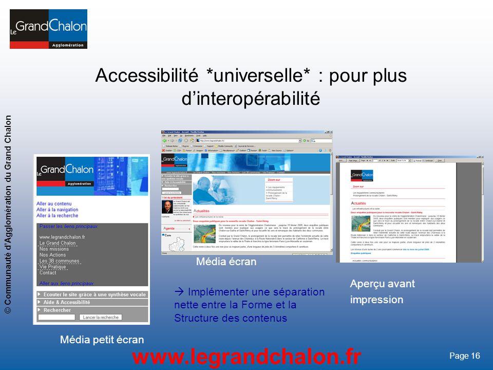 16 www.legrandchalon.fr © Communauté dAgglomération du Grand Chalon Page 16 Implémenter une séparation nette entre la Forme et la Structure des conten