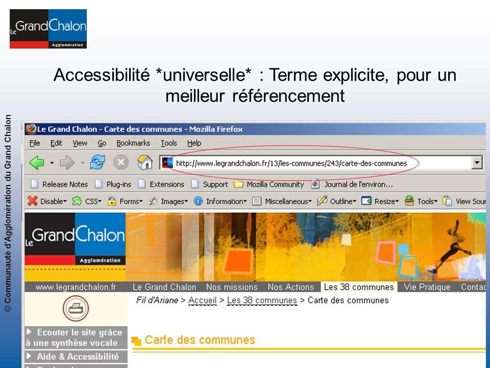 17 www.legrandchalon.fr © Communauté dAgglomération du Grand Chalon Page 17 Accessibilité *universelle* : Terme explicite, pour un meilleur référencem