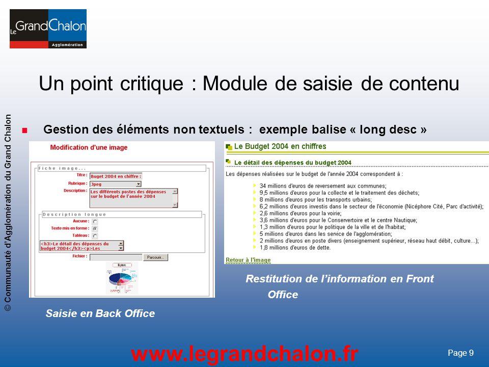9 www.legrandchalon.fr © Communauté dAgglomération du Grand Chalon Page 9 Un point critique : Module de saisie de contenu Gestion des éléments non tex