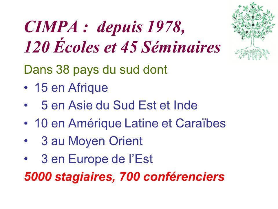 CIMPA : depuis 1978, 120 Écoles et 45 Séminaires Dans 38 pays du sud dont 15 en Afrique 5 en Asie du Sud Est et Inde 10 en Amérique Latine et Caraïbes 3 au Moyen Orient 3 en Europe de lEst 5000 stagiaires, 700 conférenciers