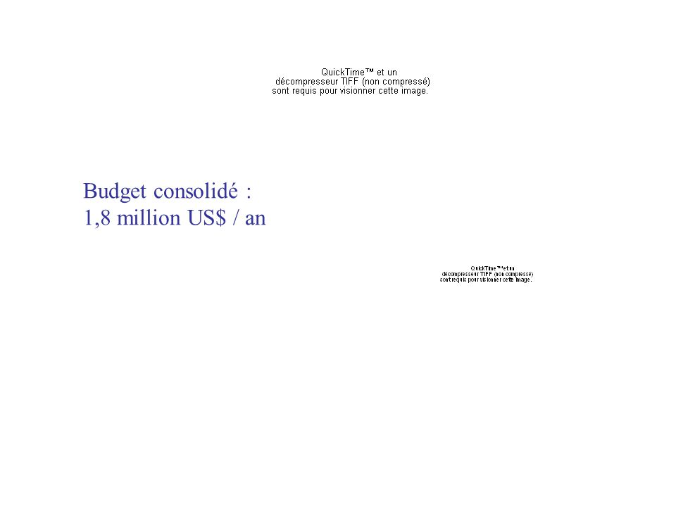 Budget consolidé : 1,8 million US$ / an