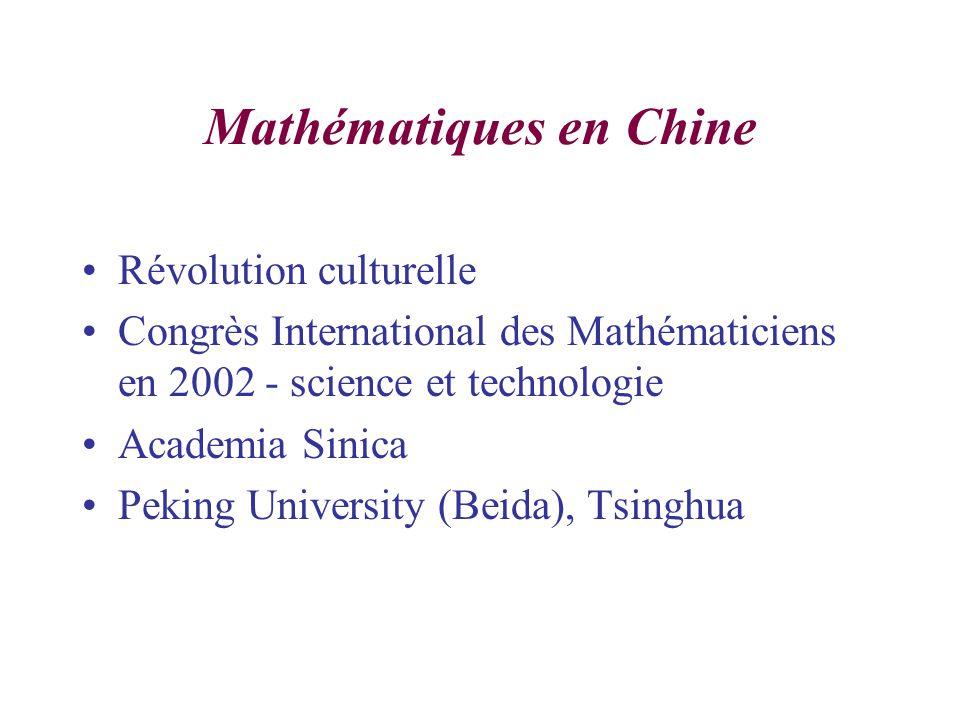 Mathématiques en Chine Révolution culturelle Congrès International des Mathématiciens en 2002 - science et technologie Academia Sinica Peking University (Beida), Tsinghua