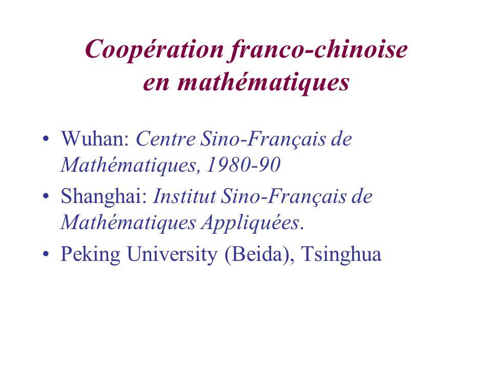 Coopération franco-chinoise en mathématiques Wuhan: Centre Sino-Français de Mathématiques, 1980-90 Shanghai: Institut Sino-Français de Mathématiques Appliquées.