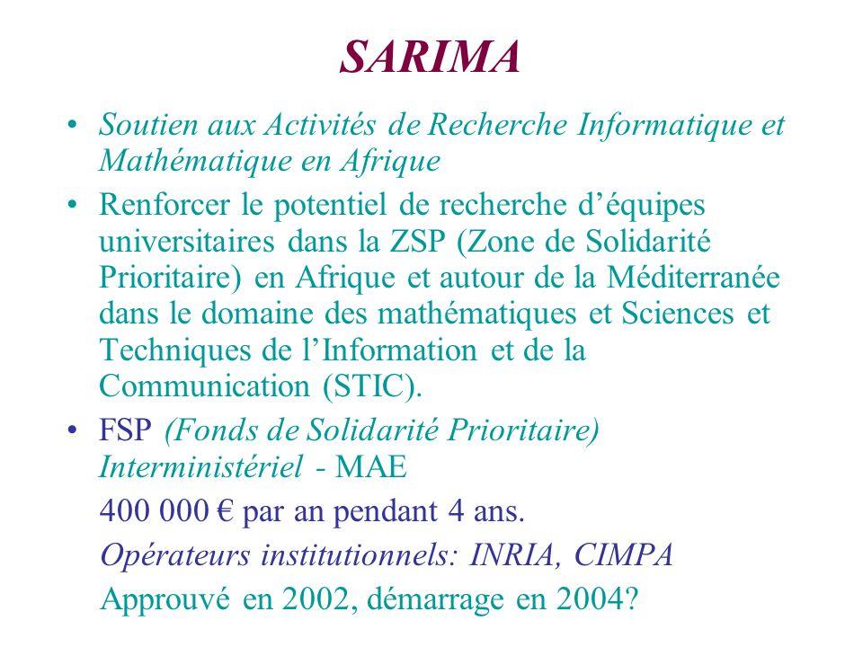 SARIMA Soutien aux Activités de Recherche Informatique et Mathématique en Afrique Renforcer le potentiel de recherche déquipes universitaires dans la ZSP (Zone de Solidarité Prioritaire) en Afrique et autour de la Méditerranée dans le domaine des mathématiques et Sciences et Techniques de lInformation et de la Communication (STIC).