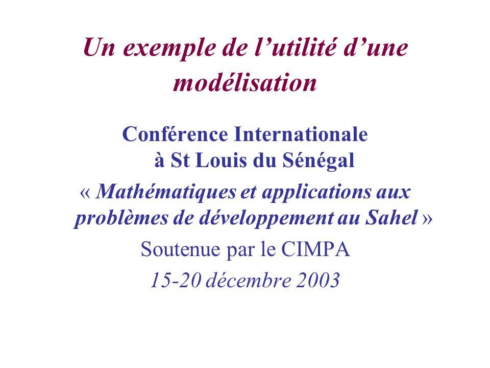 Un exemple de lutilité dune modélisation Conférence Internationale à St Louis du Sénégal « Mathématiques et applications aux problèmes de développement au Sahel » Soutenue par le CIMPA 15-20 décembre 2003