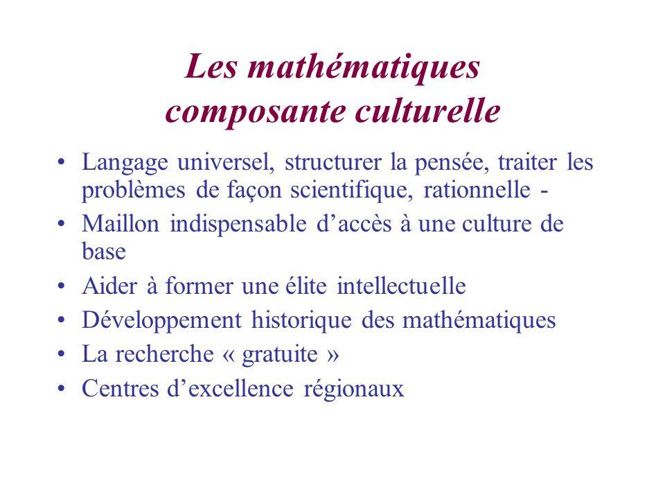 Les mathématiques composante culturelle Langage universel, structurer la pensée, traiter les problèmes de façon scientifique, rationnelle - Maillon indispensable daccès à une culture de base Aider à former une élite intellectuelle Développement historique des mathématiques La recherche « gratuite » Centres dexcellence régionaux