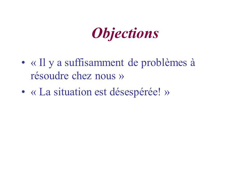 Objections « Il y a suffisamment de problèmes à résoudre chez nous » « La situation est désespérée.