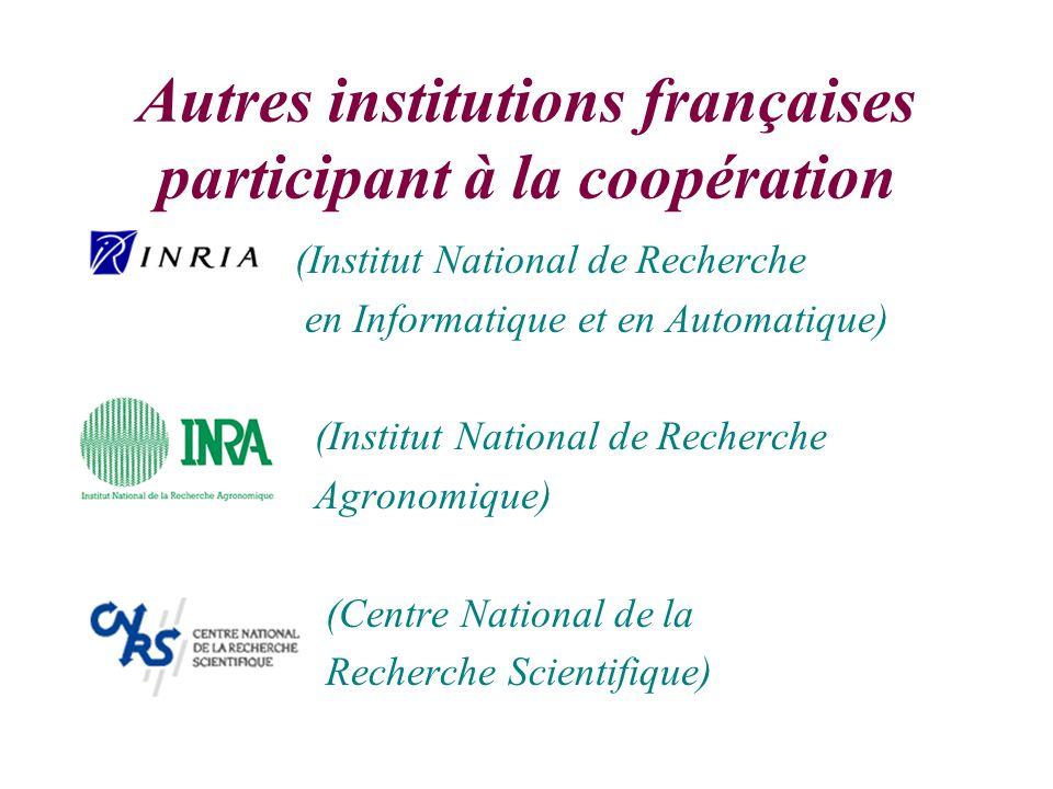 Autres institutions françaises participant à la coopération (Institut National de Recherche en Informatique et en Automatique) (Institut National de Recherche Agronomique) (Centre National de la Recherche Scientifique)