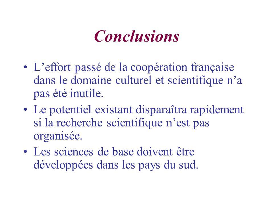 Conclusions Leffort passé de la coopération française dans le domaine culturel et scientifique na pas été inutile.