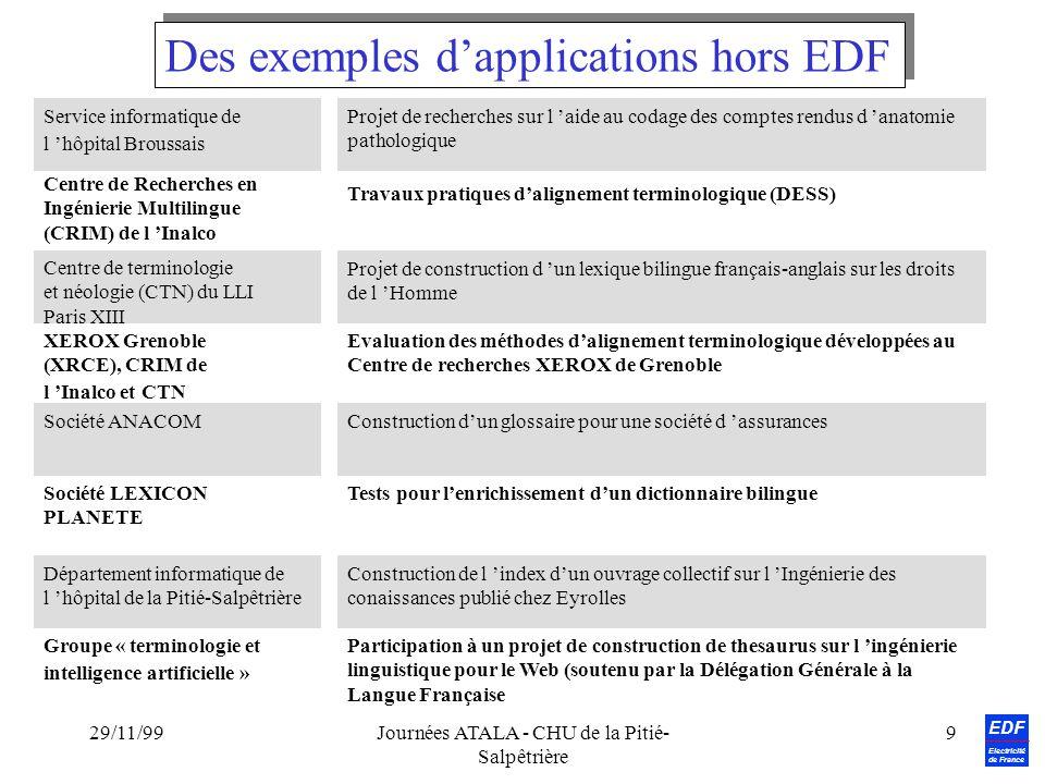 EDF Electricité de France 29/11/99Journées ATALA - CHU de la Pitié- Salpêtrière 9 Service informatique de l hôpital Broussais Société ANACOM Centre de