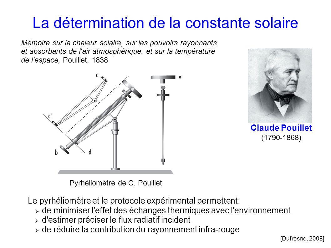 La détermination de la constante solaire Claude Pouillet (1790-1868) Le pyrhéliomètre et le protocole expérimental permettent: de minimiser l effet des échanges thermiques avec l environnement d estimer préciser le flux radiatif incident de réduire la contribution du rayonnement infra-rouge Pyrhéliomètre de C.