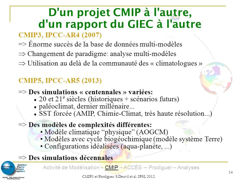 Activité de Modélisation – CMIP – ACCÈS – Prodiguer – Analyses CMIP5 et Prodiguer. S.Denvil et al. IPSL 2012. 14 D'un projet CMIP à l'autre, d'un rapp