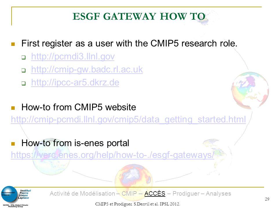 Activité de Modélisation – CMIP – ACCÈS – Prodiguer – Analyses CMIP5 et Prodiguer. S.Denvil et al. IPSL 2012. 29 ESGF GATEWAY HOW TO First register as