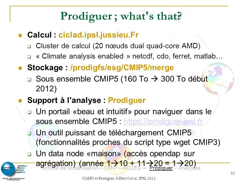 Activité de Modélisation – CMIP – ACCÈS – Prodiguer – Analyses CMIP5 et Prodiguer. S.Denvil et al. IPSL 2012. 52 Calcul : ciclad.ipsl.jussieu.Fr Clust