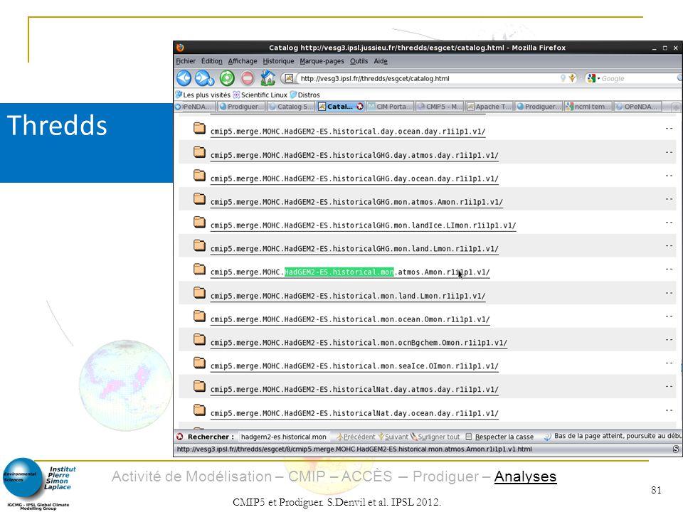 Activité de Modélisation – CMIP – ACCÈS – Prodiguer – Analyses CMIP5 et Prodiguer. S.Denvil et al. IPSL 2012. 81 Thredds