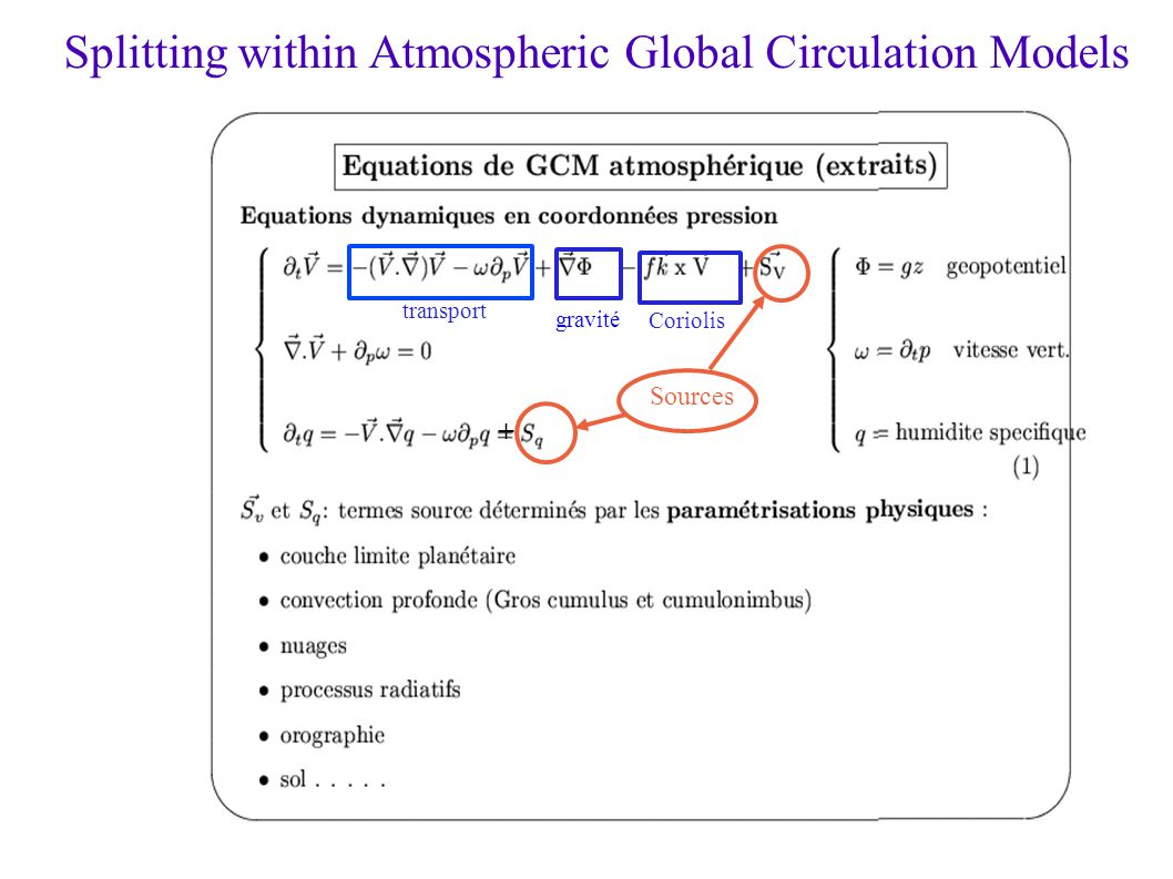 Climate modelling: splitting in submodels Vegetation Soil Hydrologie Ocean Atmosphere Tropospheric chemistry Sea-ice Ocean Bio-geo-chemistry Coupling by boundary conditions Coupling by budget equations