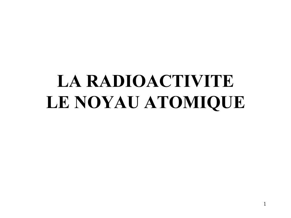 2 - Taille par rapport à latome : r atome 10 -10 m r noyau 10 -15 m - Constituants : nucléons.