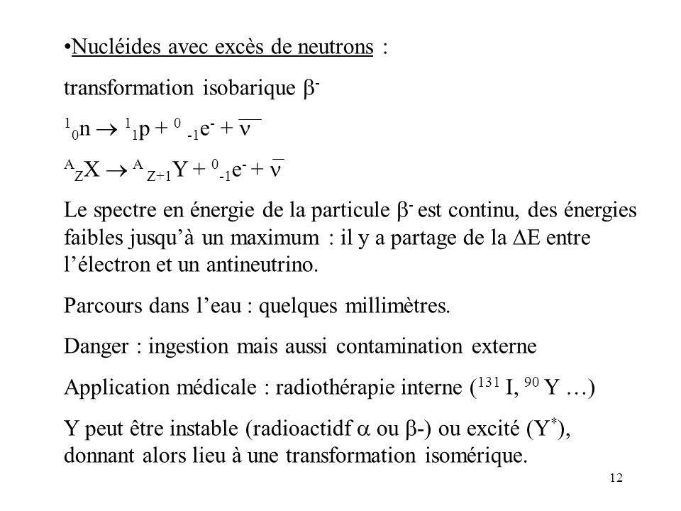 12 Nucléides avec excès de neutrons : transformation isobarique - 1 0 n 1 1 p + 0 -1 e - + A Z X A Z+1 Y + 0 -1 e - + Le spectre en énergie de la part
