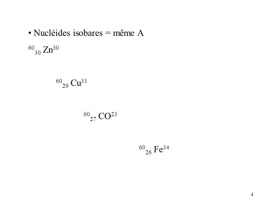 4 Nucléides isobares = même A 60 30 Zn 30 60 29 Cu 31 60 27 CO 23 60 26 Fe 34