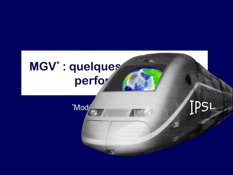 MGV * : quelques prévisions de performances * Modèle à Grande Vitesse