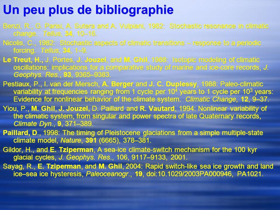Un peu plus de bibliographie Benzi, R., G. Parisi, A.