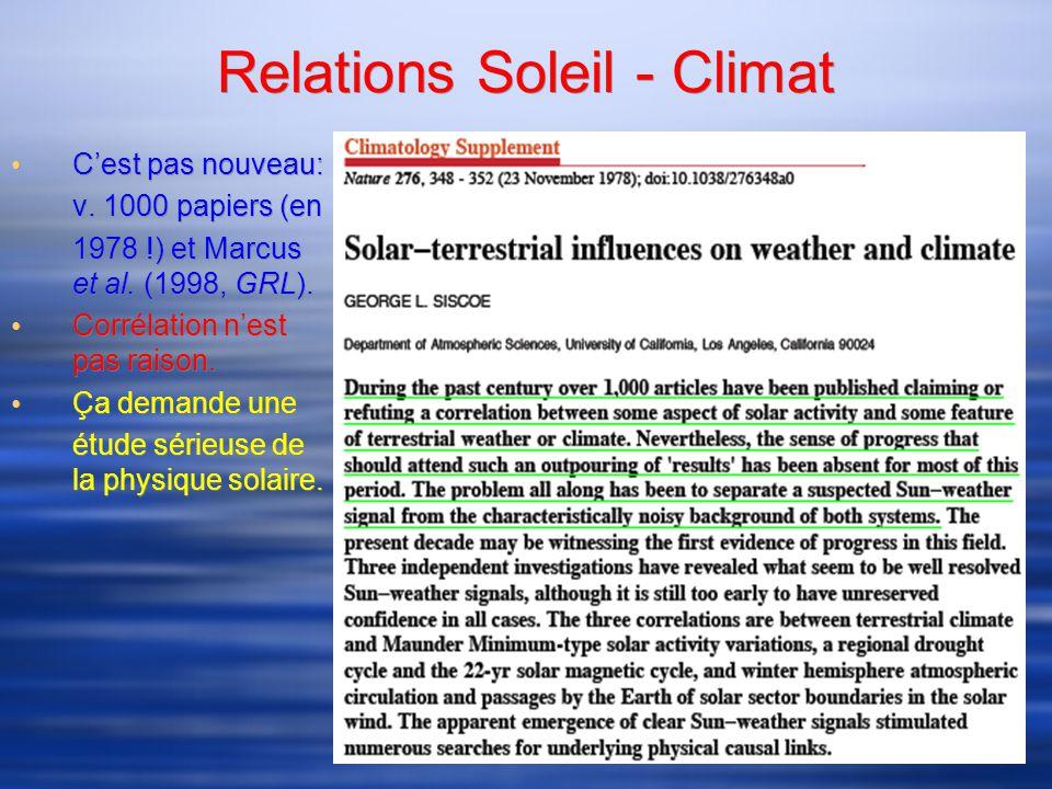Relations Soleil - Climat Cest pas nouveau: v. 1000 papiers (en 1978 !) et Marcus et al.