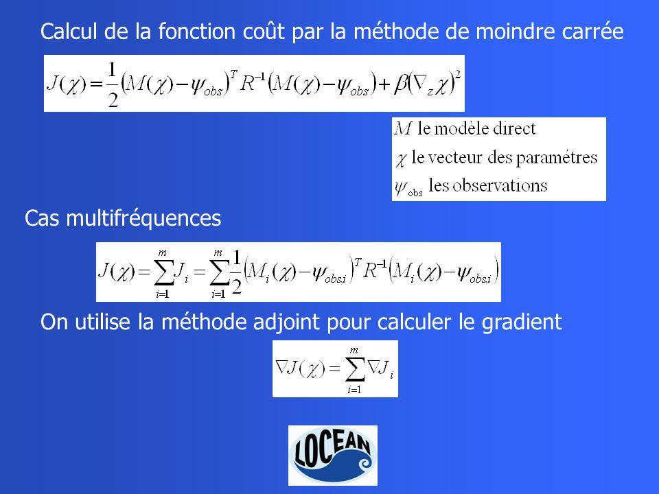 Calcul de la fonction coût par la méthode de moindre carrée Cas multifréquences On utilise la méthode adjoint pour calculer le gradient