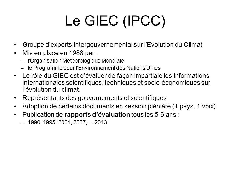Le GIEC (IPCC) Groupe dexperts Intergouvernemental sur l Evolution du Climat Mis en place en 1988 par : –l Organisation Météorologique Mondiale –le Programme pour l Environnement des Nations Unies Le rôle du GIEC est dévaluer de façon impartiale les informations internationales scientifiques, techniques et socio-économiques sur lévolution du climat.