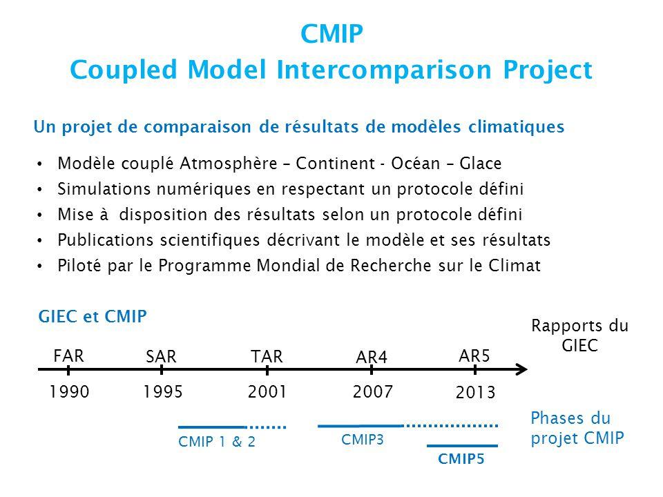 CMIP Coupled Model Intercomparison Project Modèle couplé Atmosphère – Continent - Océan – Glace Simulations numériques en respectant un protocole défini Mise à disposition des résultats selon un protocole défini Publications scientifiques décrivant le modèle et ses résultats Piloté par le Programme Mondial de Recherche sur le Climat 1990199520012007 2013 FAR SARTAR AR4 AR5 Rapports du GIEC Phases du projet CMIP CMIP 1 & 2 CMIP3 CMIP5 GIEC et CMIP Un projet de comparaison de résultats de modèles climatiques