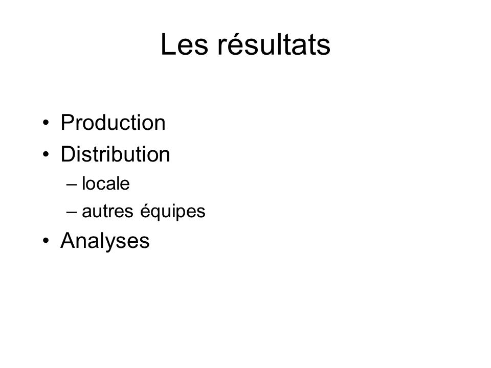 Les résultats Production Distribution –locale –autres équipes Analyses