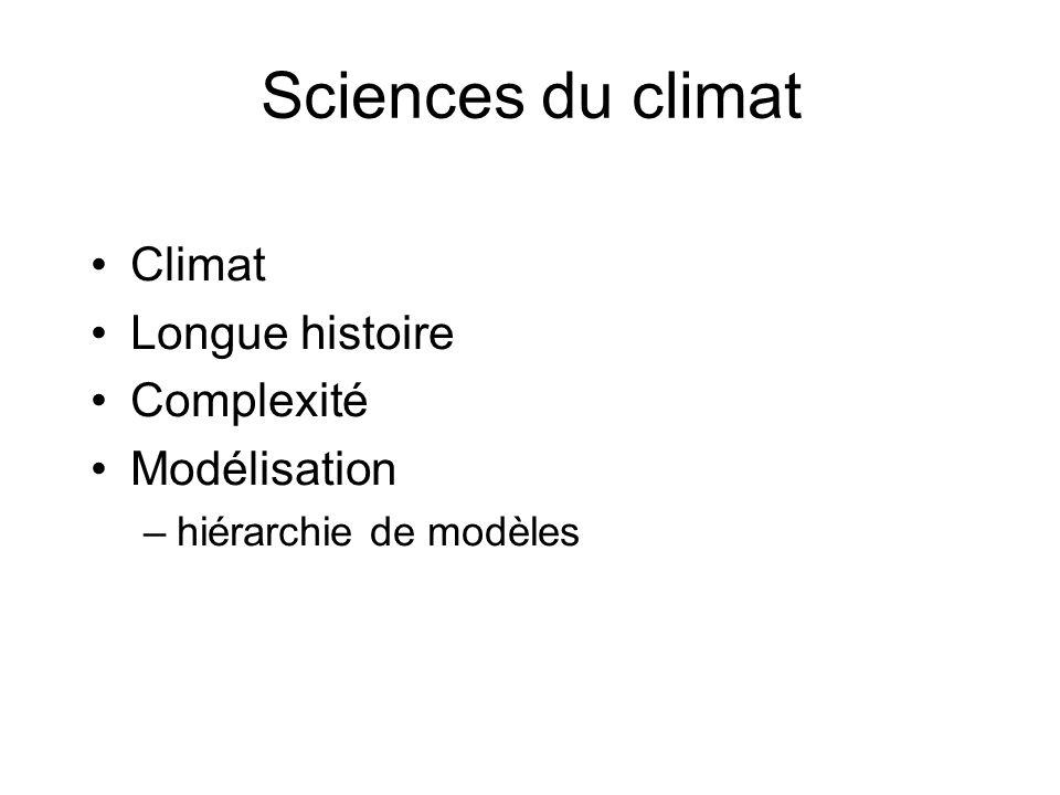 Sciences du climat Climat Longue histoire Complexité Modélisation –hiérarchie de modèles