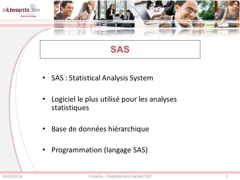 4Umanis – Département Santé/CRO06/06/2014 SAS Programmation de la structure de base Programmation des écrans de saisie Programmation des contrôles de cohérences DIU FARC TEC 2011