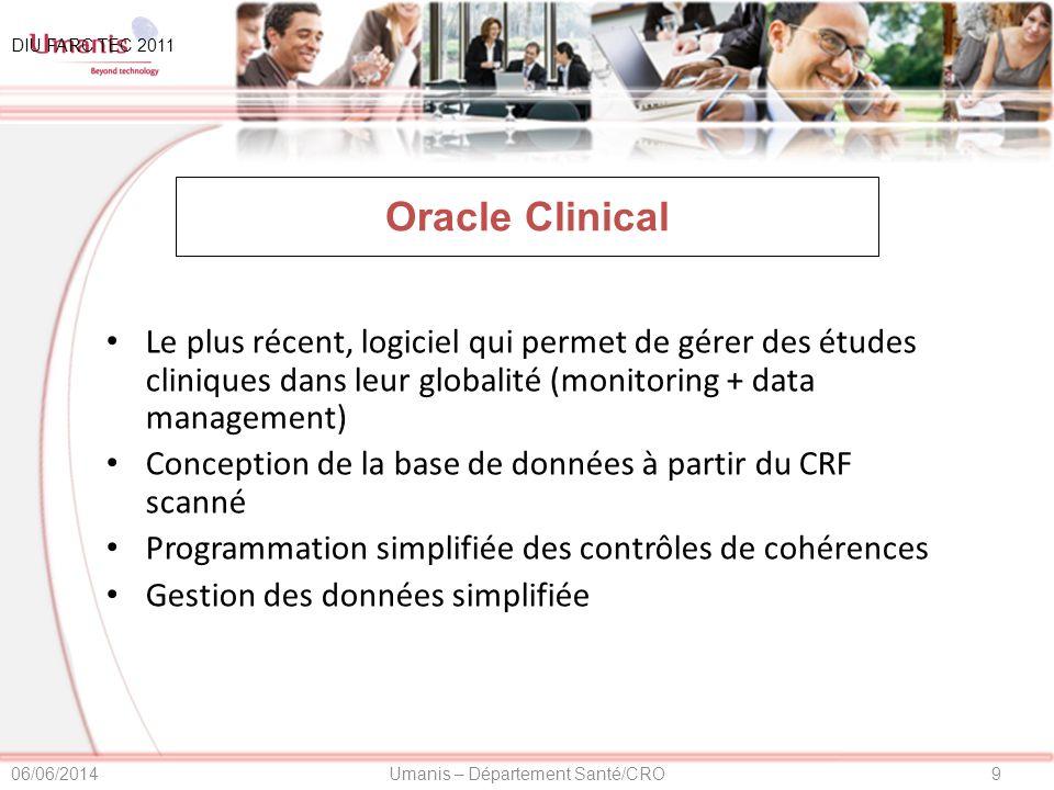 10Umanis – Département Santé/CRO06/06/2014 Nouvelles technologies E-CRF : CRF électronique DataFAX Palm DIU FARC TEC 2011