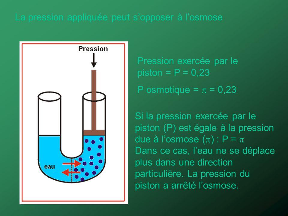 La pression appliquée peut sopposer à losmose Pression exercée par le piston = P = 0,23 P osmotique = = 0,23 Si la pression exercée par le piston (P)