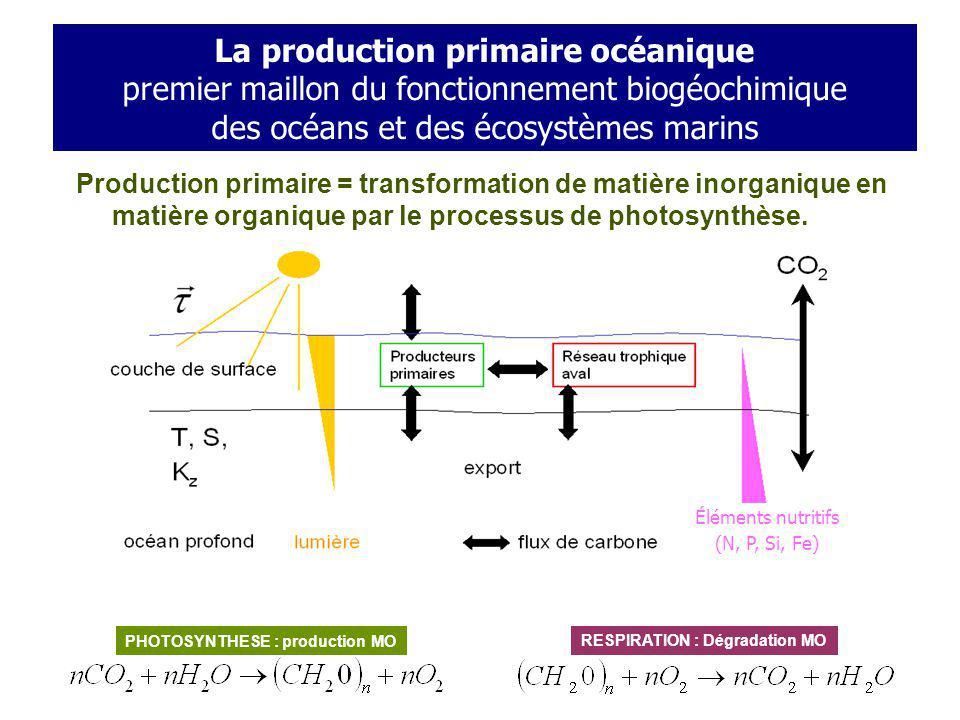 Couplage physico-biogéochimique ? Observations: chlorophylle de surface (Aqua-MODIS) Mars 2005