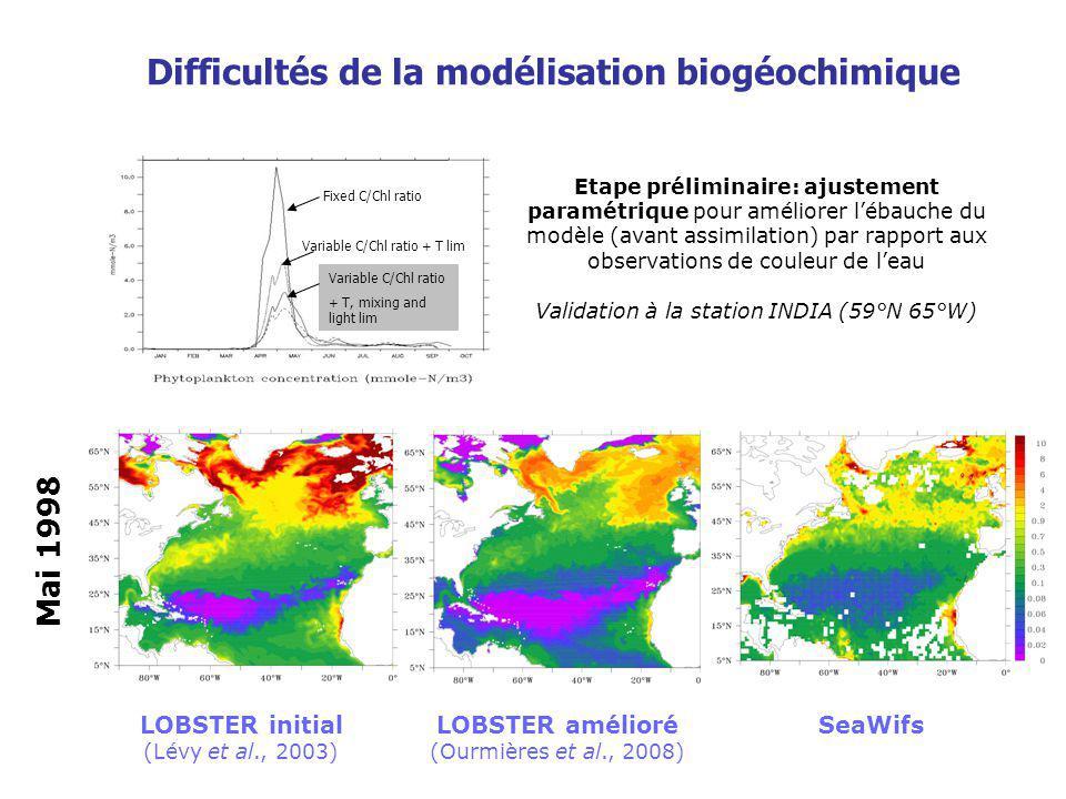 Variational Methods Remarques préliminaires concernant lassimilation de données en biogéochimie marine Pas de principe fondamental décrivant le fonctionnement de la biologie dans locéan (équivalent des équations de Navier-Stokes) Etat de lart en modélisation moins avancé que pour la physique (modèles de circulation) Observations peu abondantes et incertaines (erreur ~ signal), opérateurs dobservations complexes Multiples sources dincertitude, notamment au niveau des mécanismes de couplage