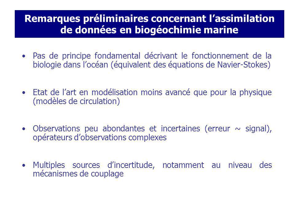 Assimilation de données pour la modélisation couplée physico-biogéochimique: multiples sources dincertitude .
