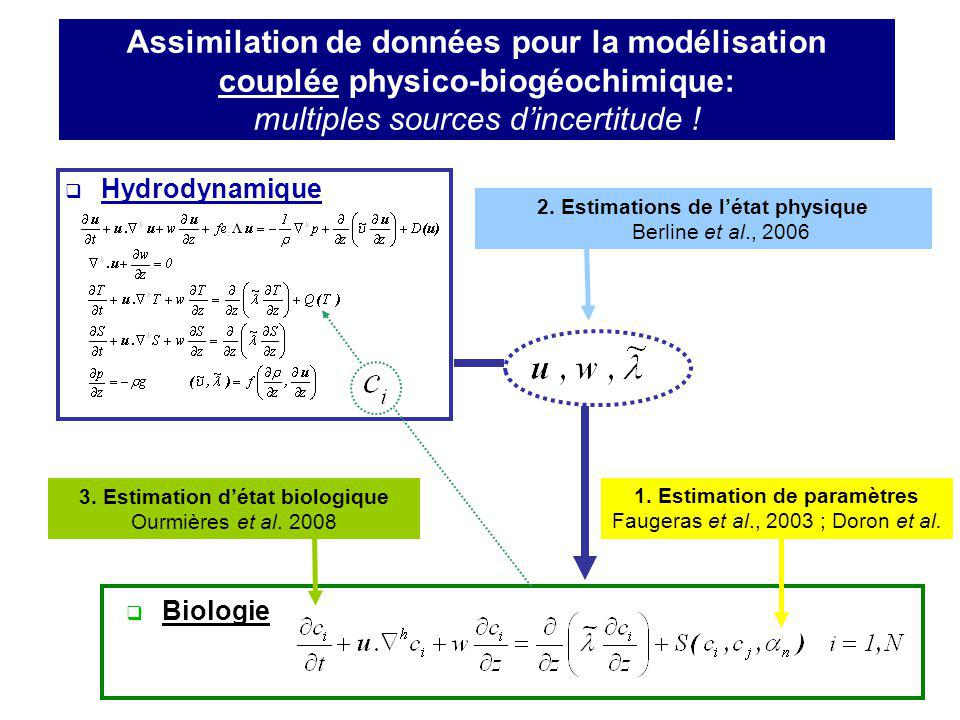 Assimilation de données pour la modélisation couplée physico-biogéochimique: multiples sources dincertitude ! Hydrodynamique Biologie 2. Estimations d