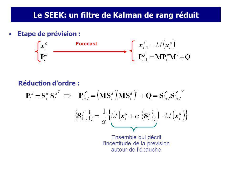Le SEEK: un filtre de Kalman de rang réduit Etape danalyse : ne satisfait pas les contraintes dinégalité Après analyse Exemple danalyse gaussienne avec (T,S) observés en surface Avant analyse