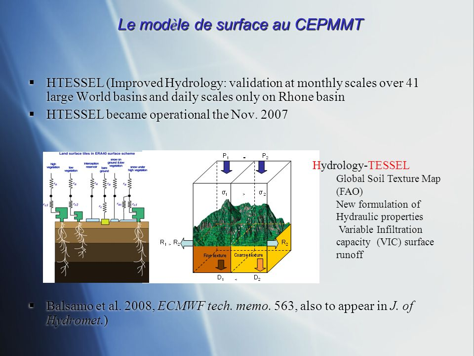 Le mod è le de surface au CEPMMT HTESSEL (Improved Hydrology: validation at monthly scales over 41 large World basins and daily scales only on Rhone b