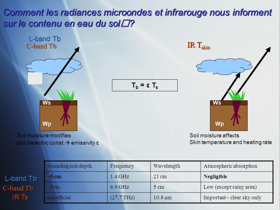 C-band Tb IR T skin Comment les radiances microondes et infrarouge nous informent sur le contenu en eau du sol? Sounding soil depthFrequencyWavelength